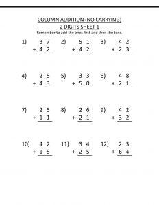 2 digit addition worksheets first grade