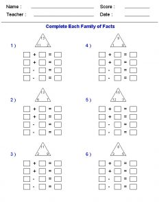 addition family facts worksheets