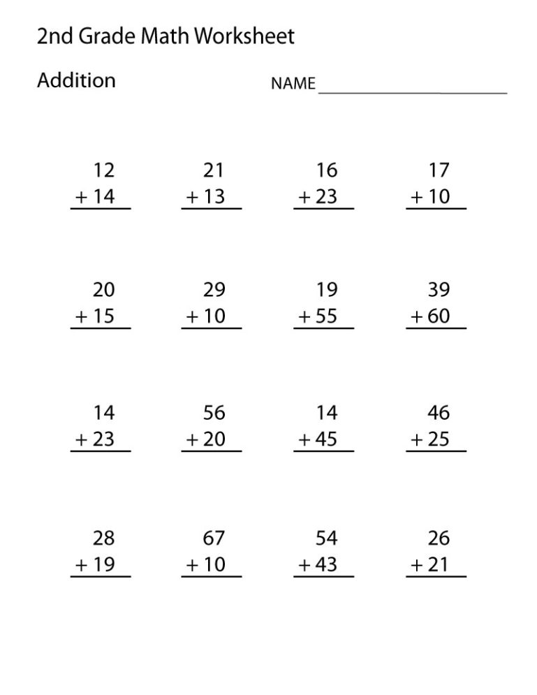 addition for second grade worksheets