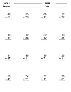 double digit addition with carrying worksheets
