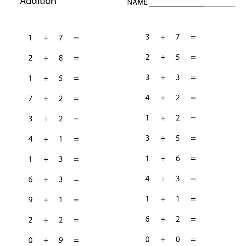 Printable Addition Worksheets 1st Grade - Worksheet School
