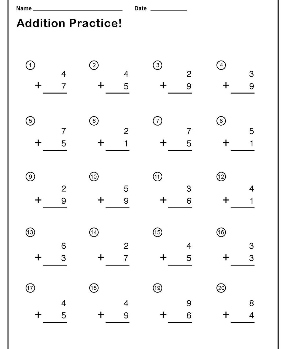 worksheet Single Addition Worksheets single addition worksheets download free printable pdf
