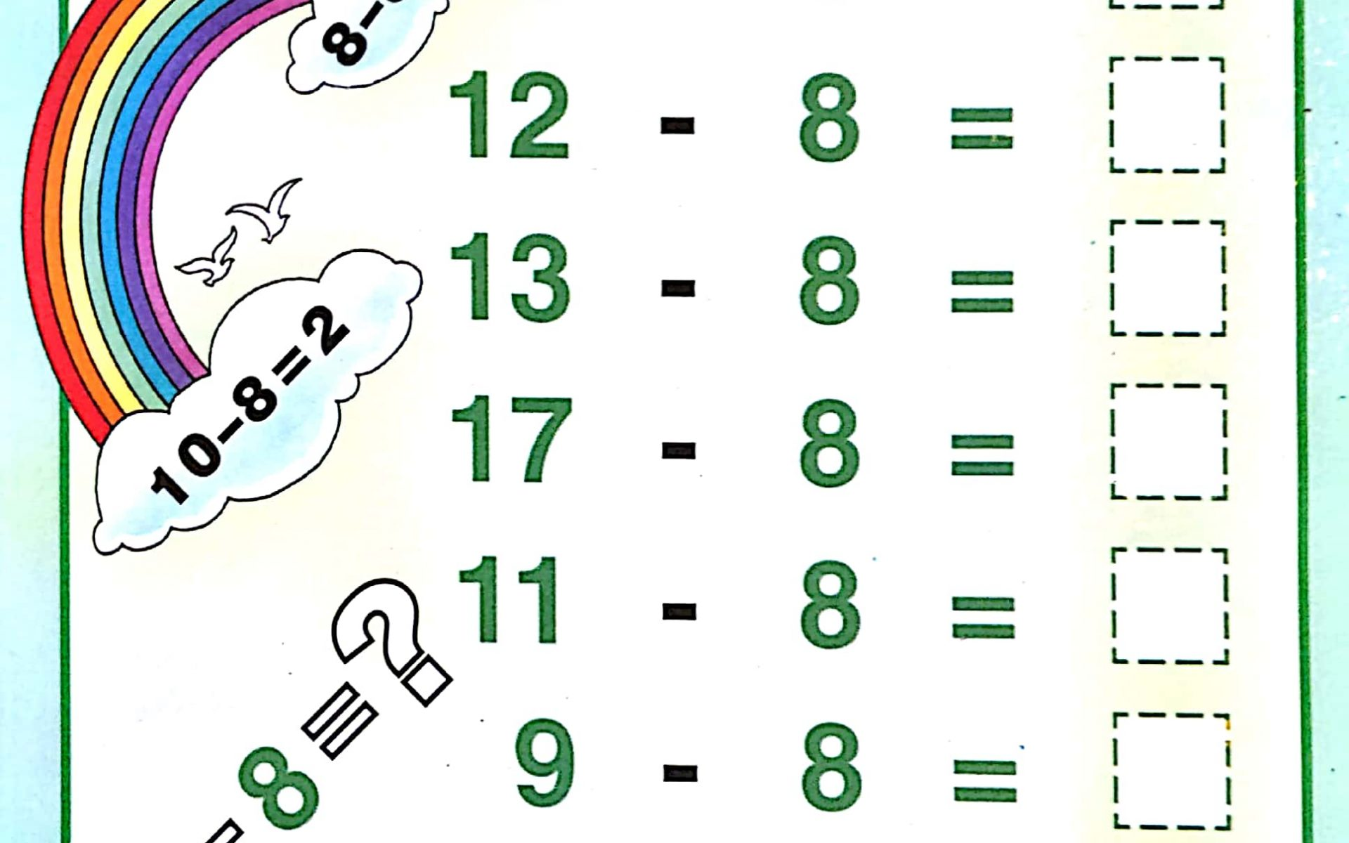 Download Pdf Free Printable Single Digit Subtraction