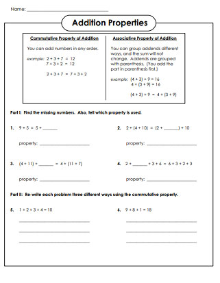 Addition Properties Worksheets 1