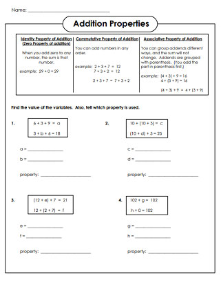 Associative Property Of Addition First Grade Worksheets 1