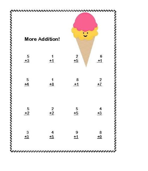 1st grade math worksheets addition 1