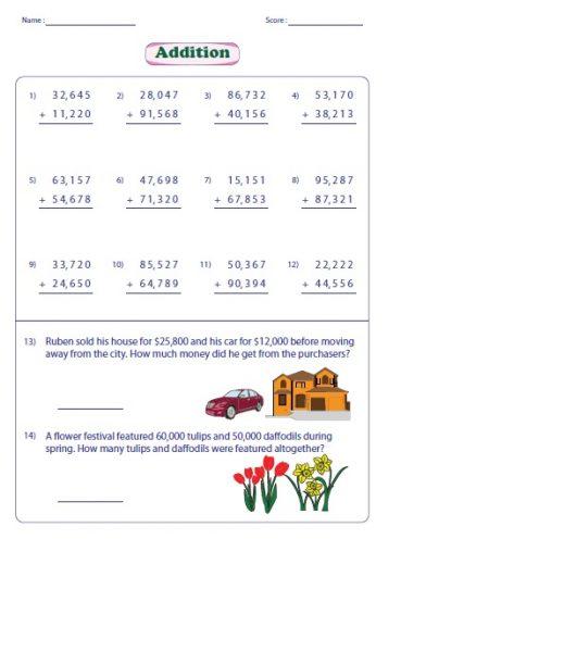 4th grade math worksheets addition 1