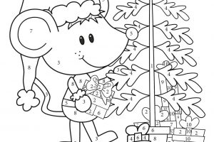 Addition and Subtraction Christmas Coloring Worksheets 3