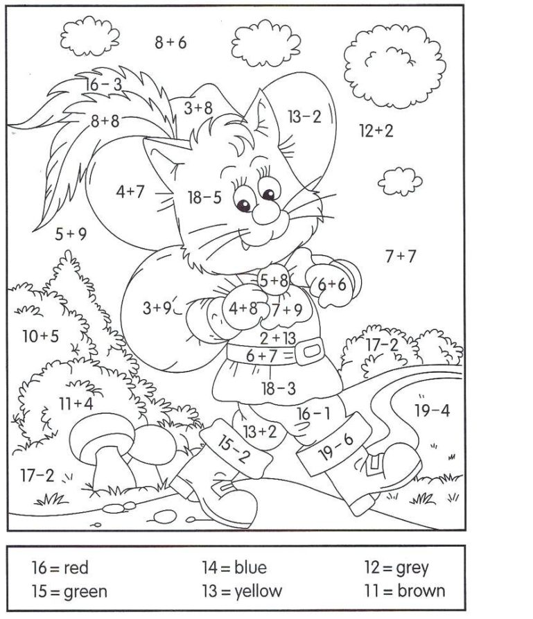 addition and subtraction coloring worksheets pdf 1