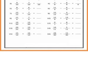 Addition and Subtraction Fractions Worksheets 7