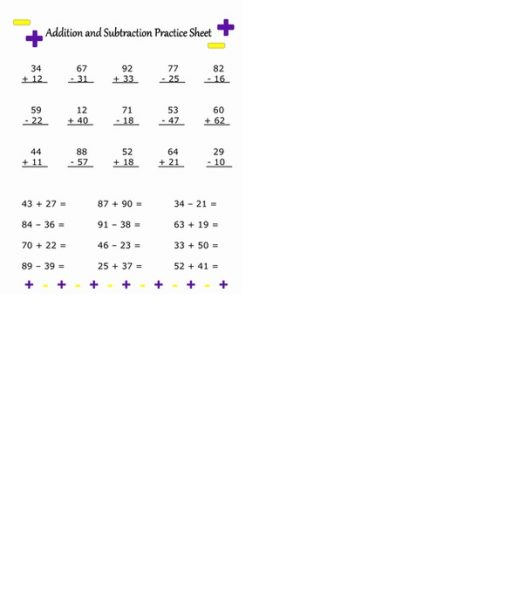 addition and subtraction math worksheetsjpg 1