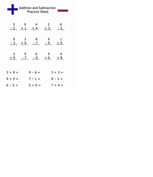 addition and subtraction practice worksheets 1