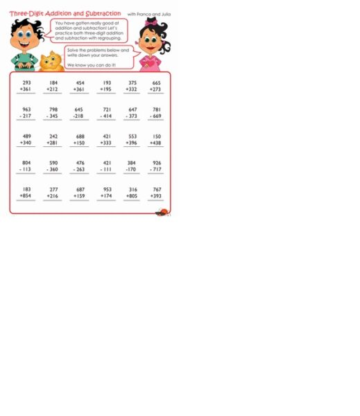 addition and subtraction worksheets 3rd grade 1