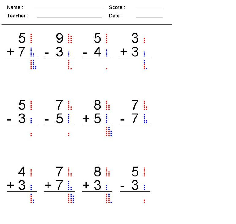 addition and subtraction worksheets for first grade 1