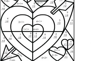addition coloring math worksheets 7