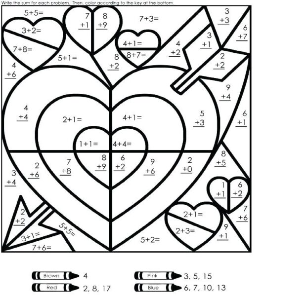 addition coloring math worksheets 1