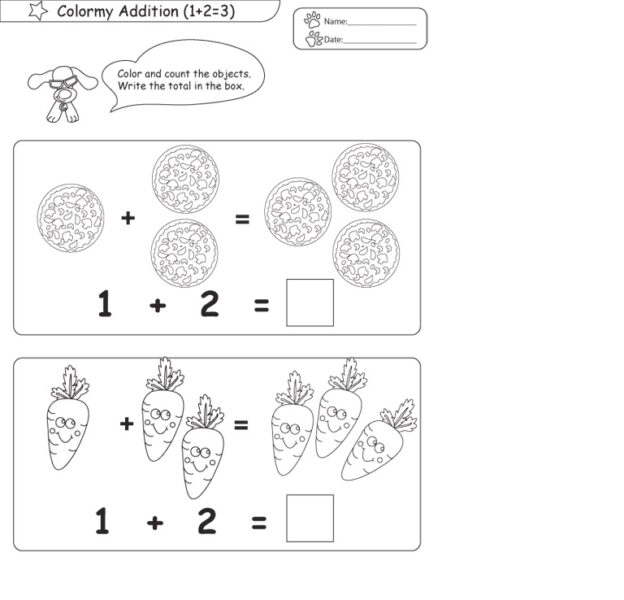 addition coloring pages for kindergarten 1