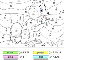Addition Coloring Worksheets for 1st & 2nd Grade 7