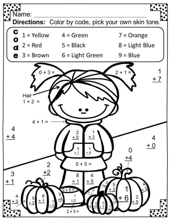 addition coloring worksheets 4th grade 1