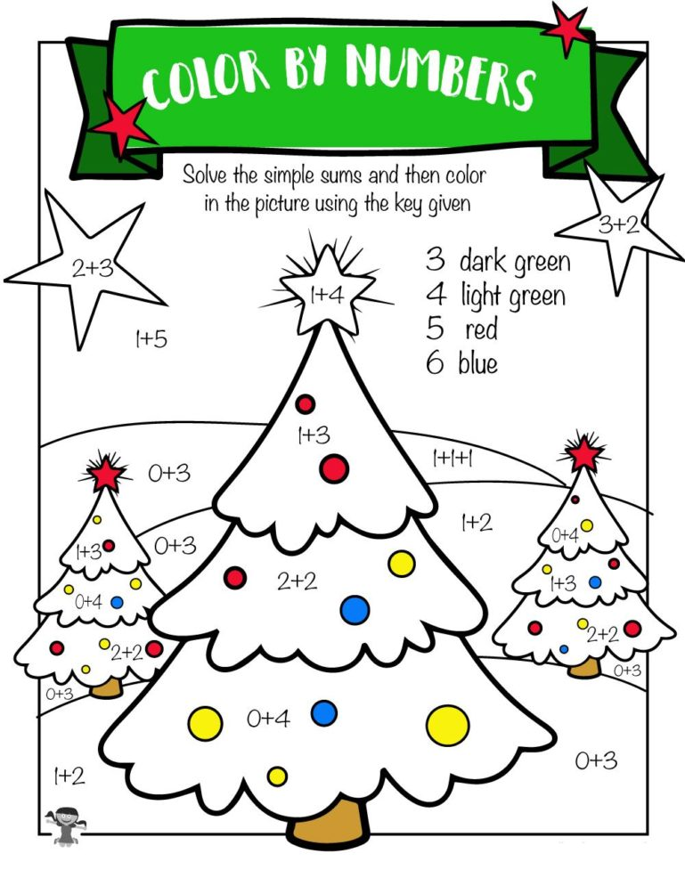 addition coloring worksheets christmas 1