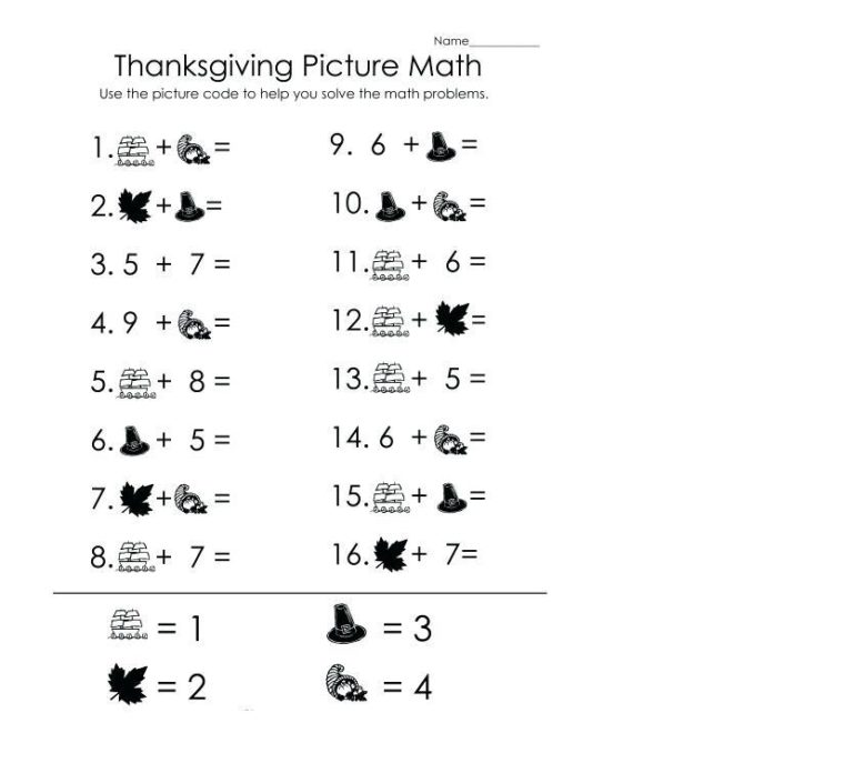 addition coloring worksheets thanksgiving 1