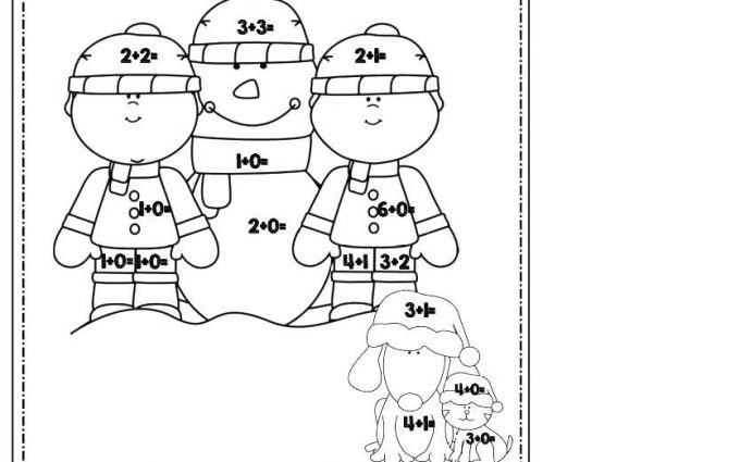 addition coloring worksheets winter 2