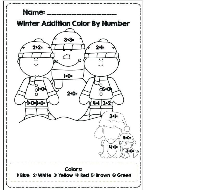 addition coloring worksheets winter 1