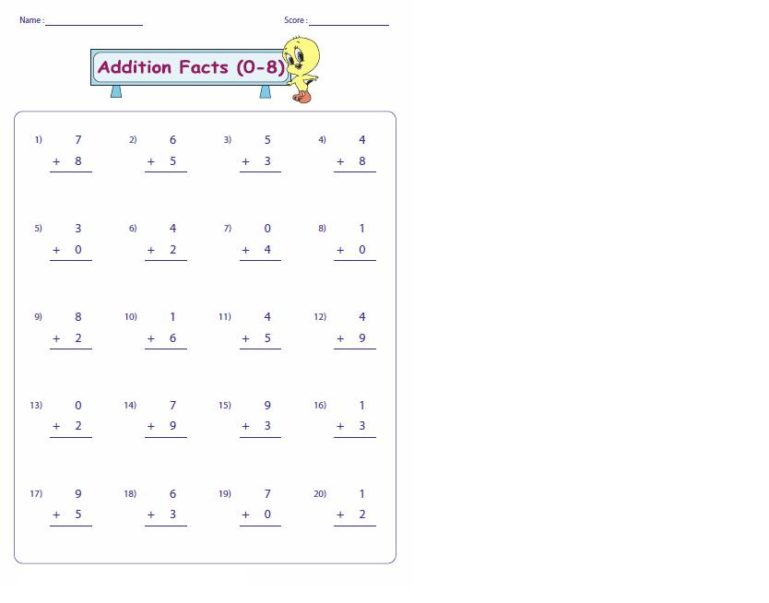 addition fact fluency worksheets 1