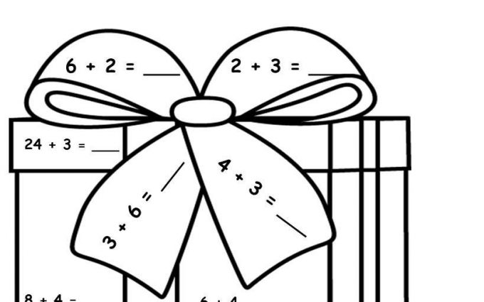 Addition Subtraction Coloring Worksheets Christmas 2