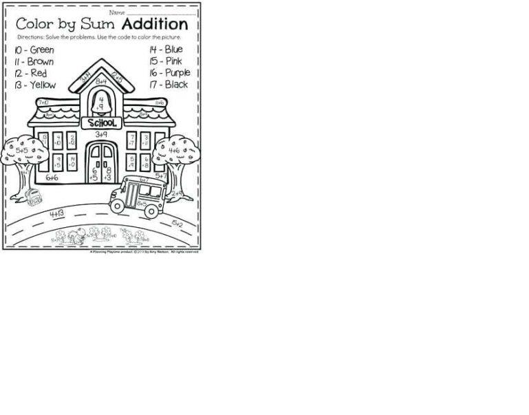 addition worksheets color by number 1