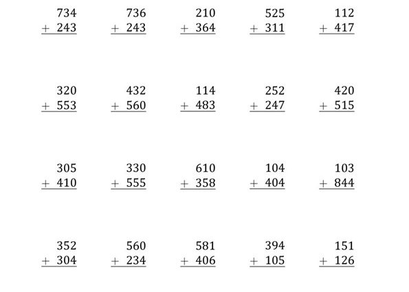 Addition Worksheets Without Regrouping 2