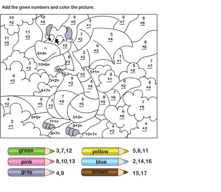 basic addition coloring worksheets 1