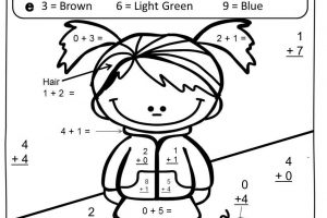 basic addition coloring worksheets free 5