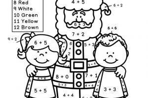 Christmas Addition Coloring Worksheets for First Grade 6