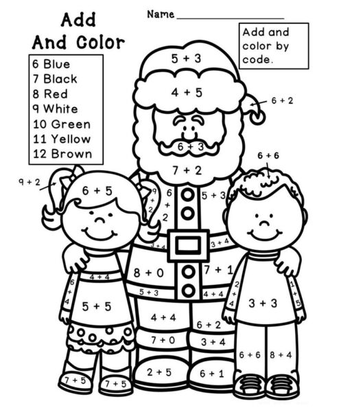christmas addition coloring worksheets for first grade 1