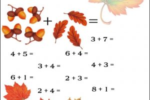 fall addition worksheets 6