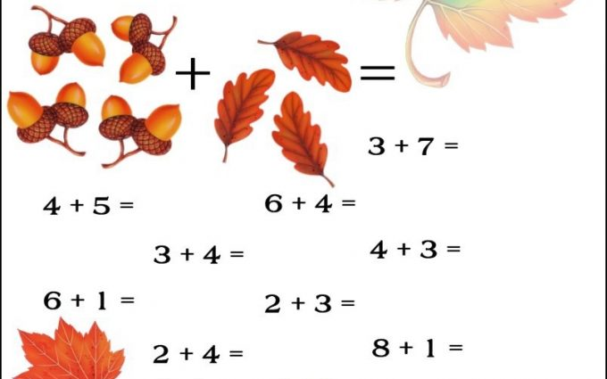 fall addition worksheets 2