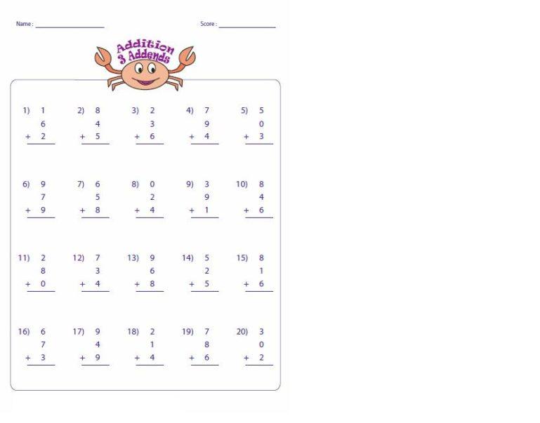 Free Single Digit Addition Worksheets 1