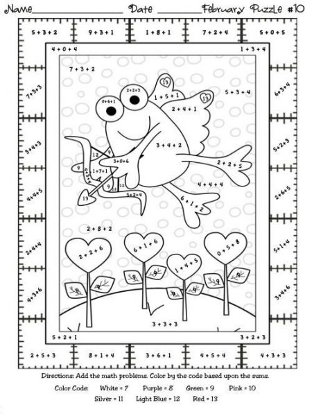 math addition coloring worksheets second grade 1