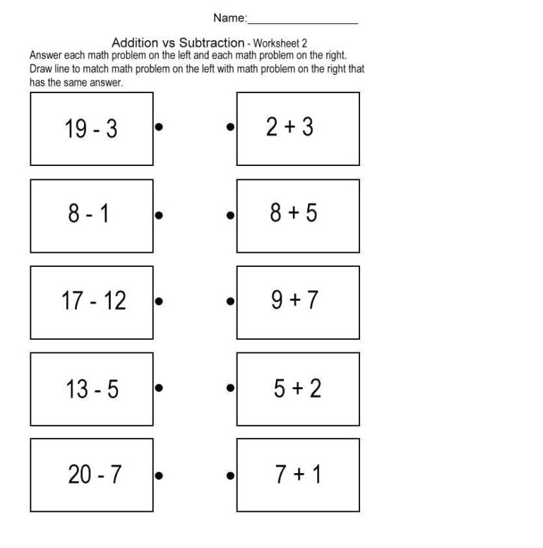 math addition subtraction worksheets 1