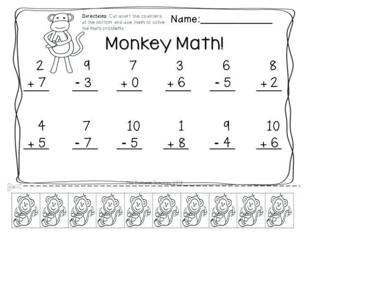 mixed addition and subtraction worksheets for kindergarten 1
