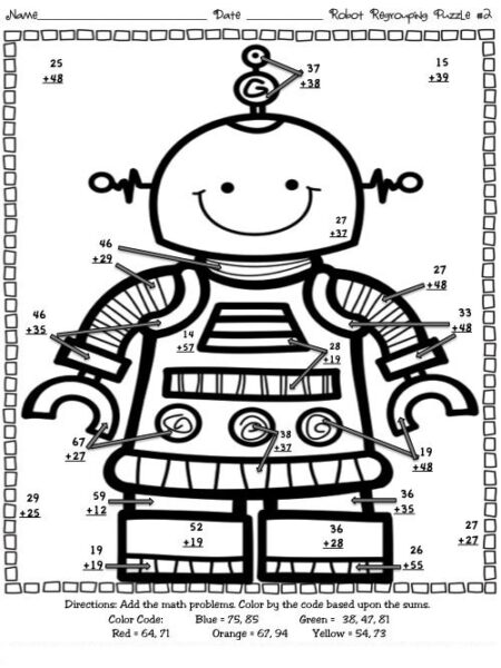 multi digit addition coloring worksheets 1