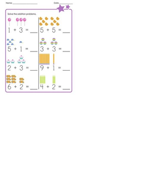 simple addition worksheets kindergarten 1