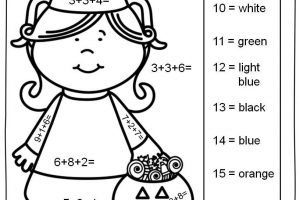 single digit addition coloring worksheets 4