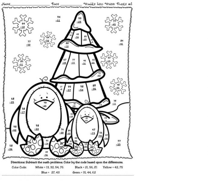 winter math addition coloring worksheets 1