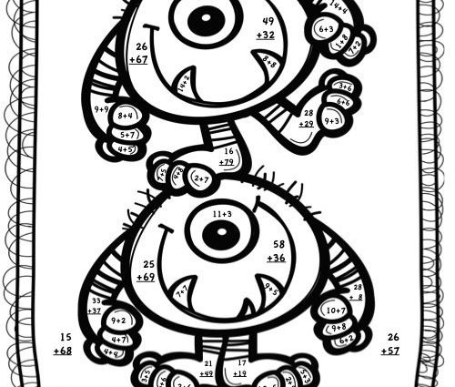 2 Digit Addition Coloring Pages 2