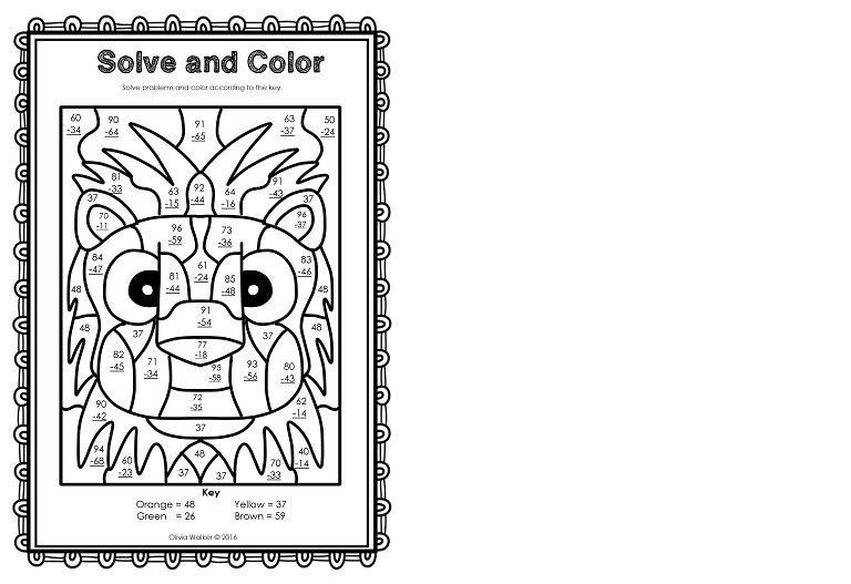2 digit subtraction coloring worksheets 1