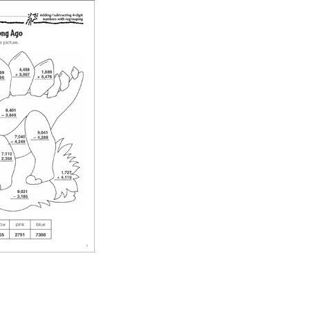 4 Digit Subtraction Coloring Worksheets 3