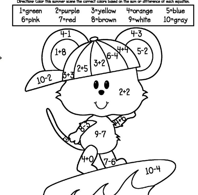 Addition and Subtraction Coloring Worksheets for Kindergarten 3