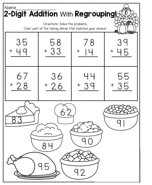Addition with Regrouping Coloring Worksheets 1